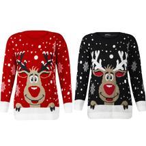 Women Christmas Deer Warm Knitted Long Sleeve Sweater Jumper Top Blouse - $66.30 CAD