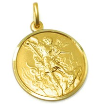 SOLID 18K YELLOW GOLD SAINT MICHAEL ARCHANGEL 25 MM MEDAL, PENDANT MADE IN ITALY image 2