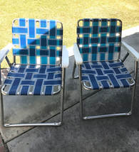 Vintage Lawn Chairs Blue Webbed Camping Patio Aluminum White Plastic Arms - $84.99