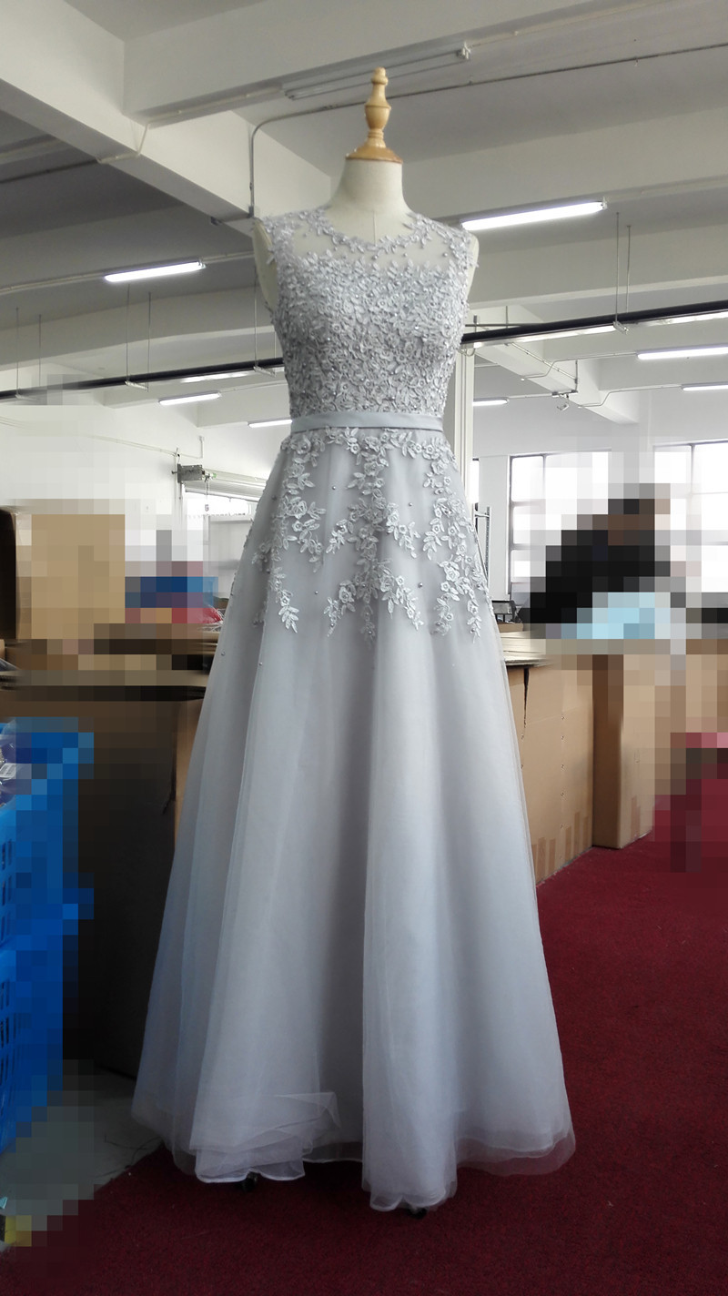 Lace Embroidery Long Prom Dresses Sheer Back Pearls Formal Evening Party Dresses image 11