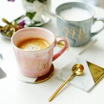 Mr and Mrs Coffee Mug Handpainted Gold Monogram Cup Ceramic Porcelain Dr... - $21.84+
