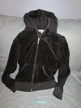 Juicy Couture Hooded Black Velour Jacket Hoodie With Gemstone Crown & JC Size M - $64.34