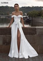 Deluxe Off Shoulder Princess A Line Satin High Split Wedding Dress image 3
