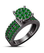 Round Cut Green Sapphire Black Gold Over 925 Silver Solitaire With Accen... - $86.99