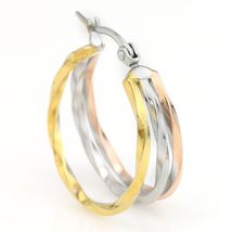 Unique Tri-Color Silver, Gold & Rose Tone Hoop Earrings- United Elegance image 2