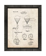 Aircraft Parachute Flare Patent Print Old Look with Beveled Wood Frame - $24.95+