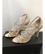 New Badgley Mischka Meghan Ivory Crystal Strappy Sandals SZ 9.5 $298 - $33.94