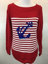 S11 NEW Talbots Sz M Red White Stripe Nautical Anchor Boat Neck Sweater ... - $21.37