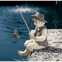 Outdoor Garden Statue Frederic Little Boy Fisherman Avignon Decorative S... - $41.57
