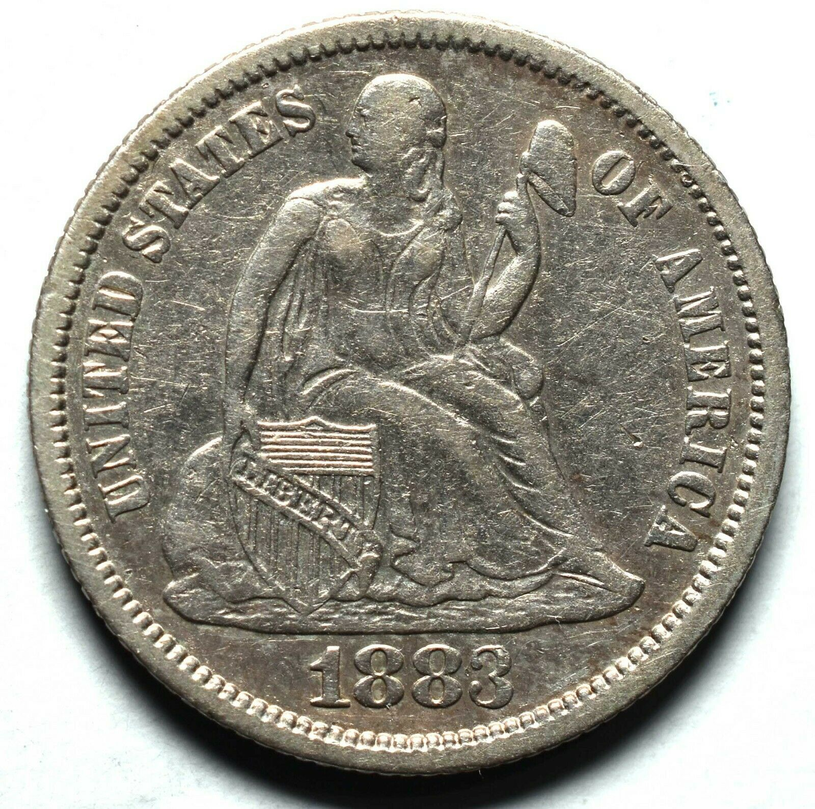 1883 Silver Seated Dime 10¢ Coin Lot# A659