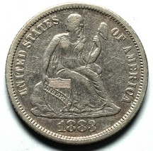 1883 Silver Seated Dime 10¢ Coin Lot# A659 image 1