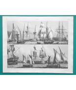 SHIPS Fishing Smack Coasters Barque Galiot - 1844 Superb Print - $25.20