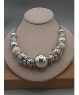 vintage marble, silvertone necklace - $2.70