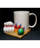 Collectable Ceramic Mug with Decorative  Coaster Set Bowling Design - $12.38