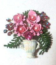 VINTAGE ENAMEL PINK RHINESTONE FLOWER BOUQUET LEAF SPRAY - $65.00