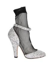 Dolce & Gabbana Women Silver Sequined Leather Socks Pumps EU40/US9.5 - $199.96