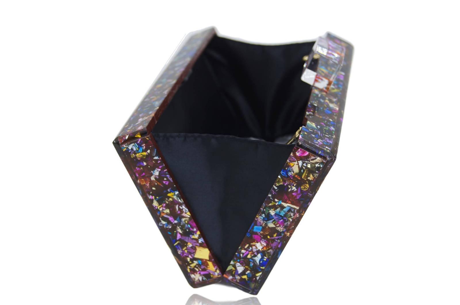 Milanblocks Colorful Confetti Acrylic Box Clutch