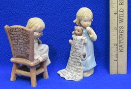 Foundations Figurines Girl w/ Bear & Blanket Chair Prayer 112028 Lot 2  ... - $9.89