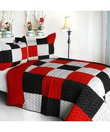 [Poker King] 3PC Vermicelli-Quilted Patchwork Quilt Set (Full/Queen Size) - $100.97