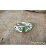 Bamboo Jade Ring solid Sterling Silver - $176.00