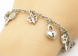 925 Sterling Silver - Vintage Dangling Assorted Charm Chain Bracelet - B... - $58.16