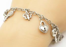925 Sterling Silver - Vintage Dangling Assorted Charm Chain Bracelet - B... - $58.16
