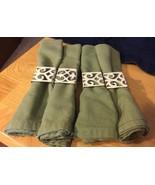 Green Cotton Napkins w/ Square Metal Napkin Rings - $18.69