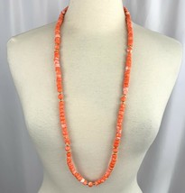 """Coral Tone Plastic Beaded Necklace Vintage Colorful Bright 36"""" Gold Tone - $19.75"""