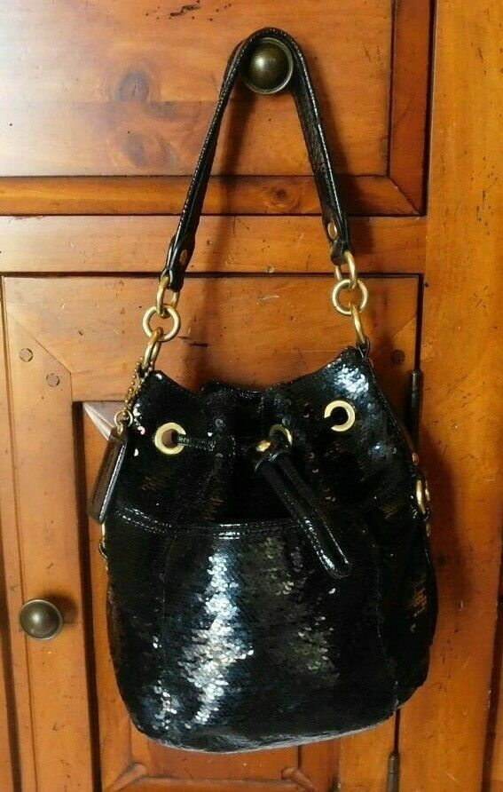 Coach Poppy Black Sequins Drawstring  Bag 17906