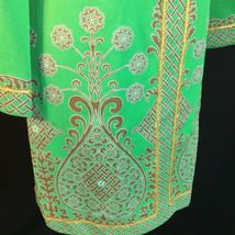 Vtg Green Alfred Shaheen Exotic Mod Tunic Dress Signed Print MCM Polypop S/M image 4