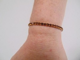 "Charter Club  6"" Gold Tone Amber Studded Stone Light Stretch Bracelet A3... - $9.59"