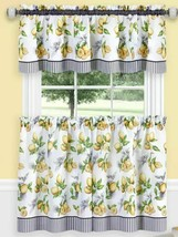 "3 Pc Kitchen Curtains Set:2 Tiers (58""x36"") & Swag (58""x14"") LEMON DROP,... - $23.75"