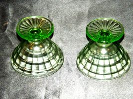Two Block Optic Green cone Sherbet Glass Depression Glass AA19-CD0031 Vintage image 4