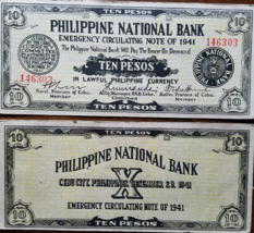 PHILIPPINE National Bank Cebu City Ten Peso Note 1941 - $9.95