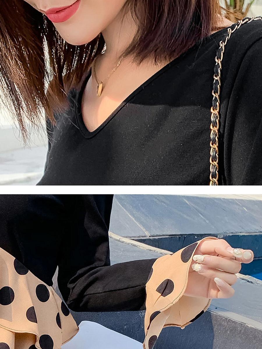 Maternity's Dress V Neck Polka Dots Pattern Patchwork Design Dress image 4