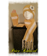 Yellow & White Crochet Hat, Scarf & Fingerless gloves - $35.00