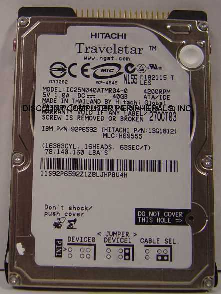 "lot of 4 IC25N040ATMR04-0 IBM 40GB 2.5"" IDE Drive Tested Good Free USA Ship"