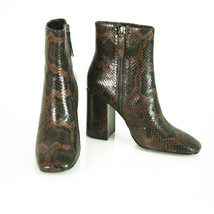 Ash Brown Snake Pattern Calf Booties Zipper Boots Block Heels Shoes size 39 - $148.50