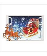 3D Santa Claus Fake Window Stickers Living Room Bedroom Background Wall ... - $20.00