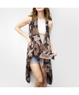 Ginga's Galleria Brown Tropical Leaf Scarf Vest Cover Up Cardigan - $23.50