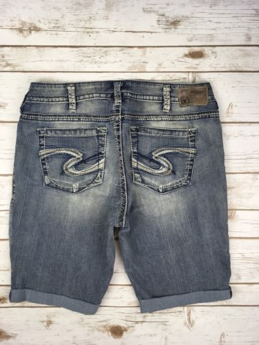 SILVER JEANS SHORTS Super Low Tuesday Embroidered Stretch Denim Jean Plus 14
