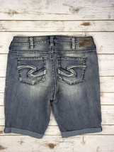 SILVER JEANS SHORTS Super Low Tuesday Embroidered Stretch Denim Jean Plu... - $34.97