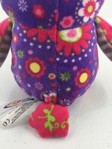 """Mary Meyer Plush Owl Purple Pink Floral Flowers Stuffed Toy 7"""" Tall image 6"""