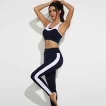 Women's Black And White Seamless Push up Compression Yoga Sportwear Outfit image 1