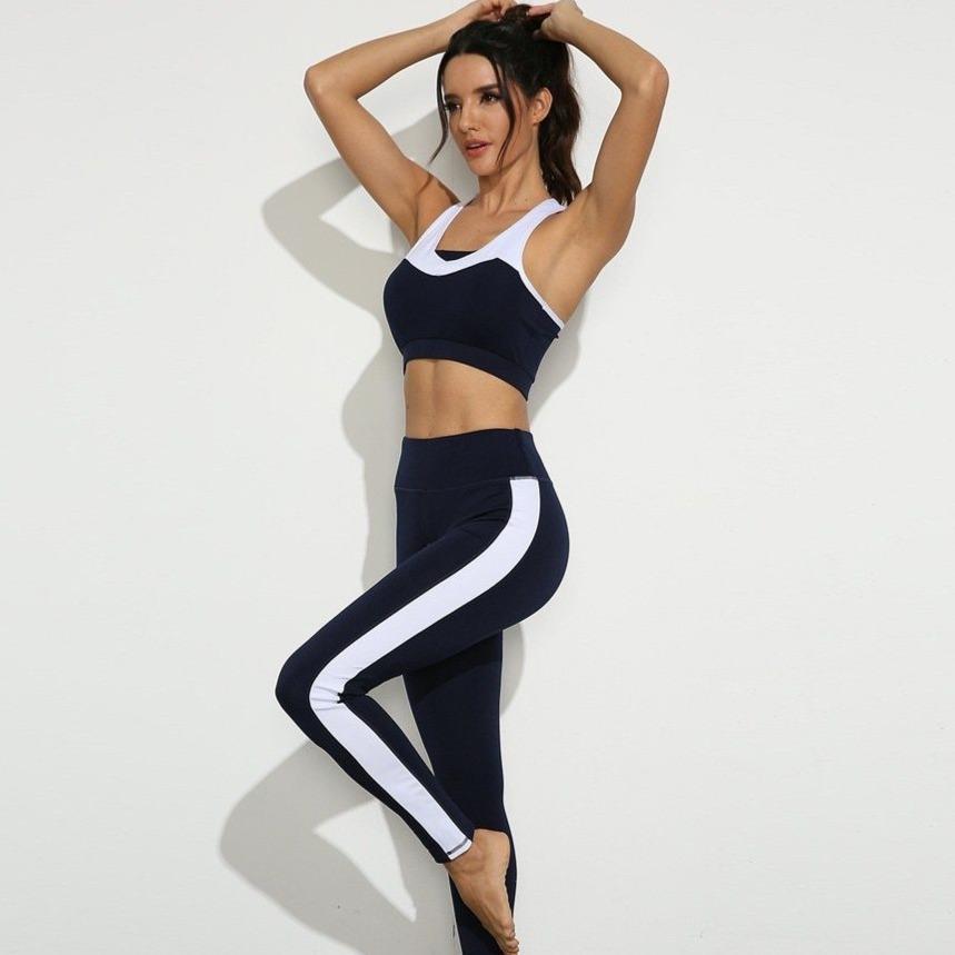 Ts wear stitching breathable slim yoga suit set gym running b2e43775 ea89 4c09 9c70 036582134137
