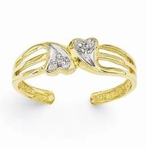 14K GOLD .02CT DIAMOND DOUBLE HEART TOE RING - £96.10 GBP