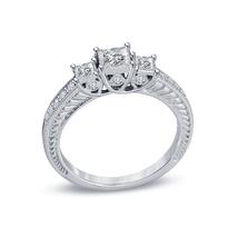 14k White Gold Plated 925 Silver Princess Cut CZ Womens Three Stone Wedding Ring - $76.80