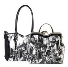 Black/White 2 in 1 Michelle Obama Magazine Handbag Set - Mod AA6450 - $79.99