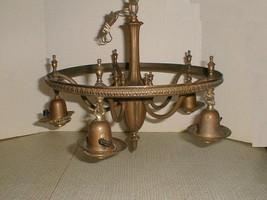 Art deco 1920s bronze chandelier light 5 bulb hanging hall antique - $200.00