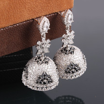 Indian Wedding Silver Jhumka Earrings, Traditional Bridal Earrings - $75.00